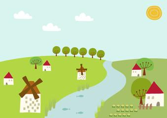 風車と小川の風景。春の村のイメージ。