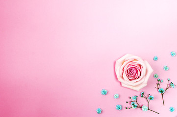 beautiful roses on the Romantic pink background