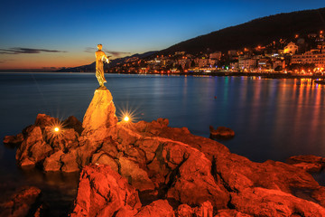 View of Opatija bay after the sunset, Croatia
