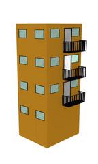 Einfaches gelbes Hochhaus mit Balkon aus Seitenansicht auf weiß isoliert. 3d render