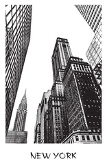 New York City. Vector drawing of a street in downtown in engraving style. Black and white illustration of of famous place. Perspective view up.