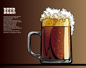 Illustrated poster of mug with beer