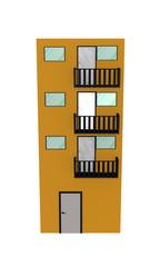 Einfaches gelbes Hochhaus mit Balkon aus Vorderansicht auf weiß isoliert. 3d render