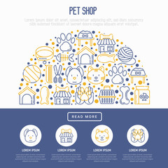 Pet shop concept in half circle with thin line icons: cat, dog, collar, kennel, grooming, food, toys. Modern vector illustration, web page template.