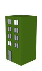 Einfaches grünes Hochhaus in seitenansicht auf weiß isoliert. 3d render