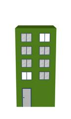 Einfaches grünes Hochhaus aus Vorderansicht auf weiß isoliert. 3d render