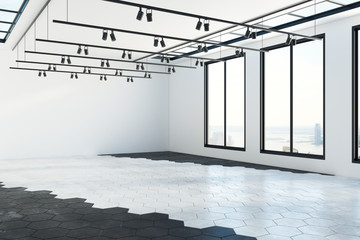Gallery with blank wall