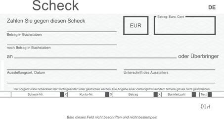 Vektor-Check mit modernem Design. Original Scheck - blanko. Blankoüberprüfung mit freiem Platz für Ihren Text.