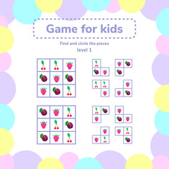 vector illustration. Puzzle game for preschool children. berries