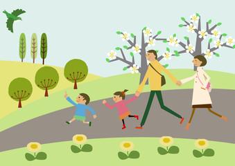 春の景色。家族連れの小旅行。春の景色。