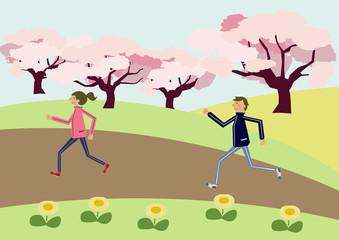 春のマラソン。マラソンするカップル。春のスポーツ。