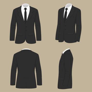 vector illustration of a men fashion, suit uniform, back side view of jacket