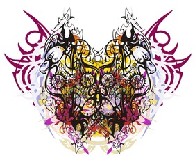 Grunge linear eagle butterfly. Tribal abstract fantastic butterfly created from eagle linear patterns with color splashes and peaked elements