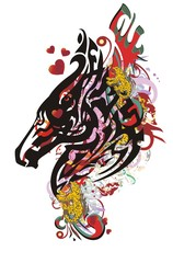 Grunge horse head symbol with red hearts. Tribal splattered bright horse head with elements of red wings, jaguars and red hearts