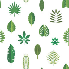Green tropical leaves, vector seamless pattern background in flat style.