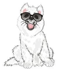 Photo sur cadre textile Croquis dessinés à la main des animaux Husky, White Husky, Dog, Puppy, Friend, Pet, Illustration, White Puppy, Husky Puppy, black, sunglasses