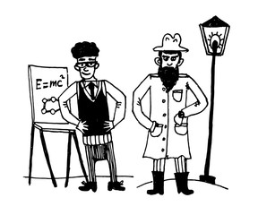 drawing set of comic pictures man - physicist with a flipchart and secretive man in a long raincoat near a lamppost sketch of a hand-drawn vector illustration