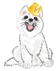 Photo sur cadre textile Croquis dessinés à la main des animaux Husky, White Husky, Dog, Puppy, Friend, Pet, Illustration, White Dog, Furry Dog, White Puppy, Husky Puppy, year of dog, yellow, gold, crown