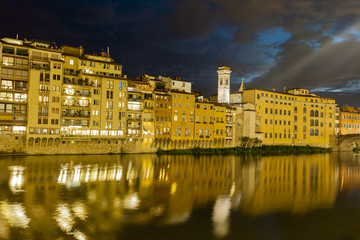 Night view at Arno river in Florence, Italy