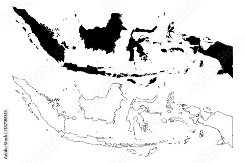 Indonesia map vector illustration scribble sketch Republic of