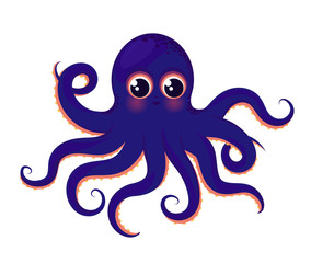 Cute blue octopus. Animal of the ocean