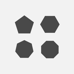 polygon shapes Pentagon hexagon octagon heptagon vector icons gray eps10 mathematical