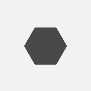 hexagon polygon 6 sides shape for mathematical or architectural purpose vector icon eps10