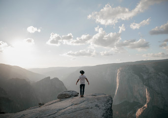 Young businessman looking at a view at Yosemite National Park