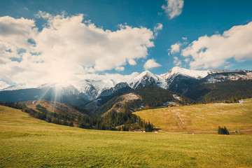View of Tatra mountains in spring time, Slovakia