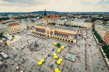 Fototapeta aerial view on the central square of Krakow, poland obraz