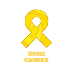 Bone cancer awareness poster. Yellow ribbon made in 3D paper cut and craft style on white background. Medical concept. Vector illustration.