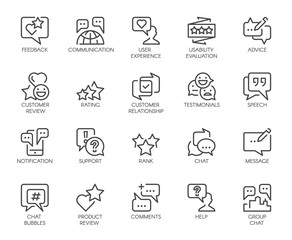 Review line icons. Big set of 20 outline pictograms isolated on white. Comments or message chat bubbles, usability evaluation, communication, rating and other symbols. Graphic signs. Vector labels