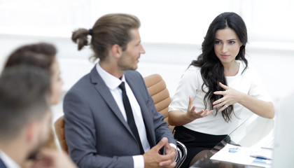 business people communicate at work their Desk