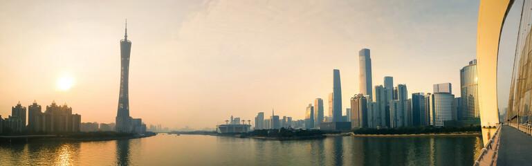 Wall Murals China Guangzhou modern city panorama at sunset