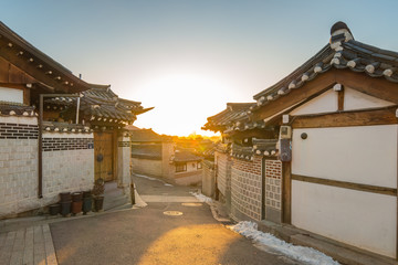 Sunrise in Seoul city Bukchon Hanok Village in South Korea