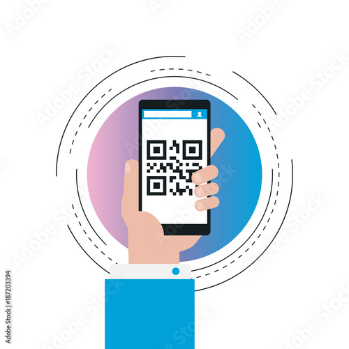 Mobile app for QR-code scanning gradient color vector