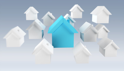 3D rendered small white and blue houses