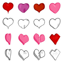 Vector Set of Color Cartoon and Black Sketch Hearts.