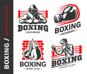 Boxing logo, emblem collections, designs templates on a white background