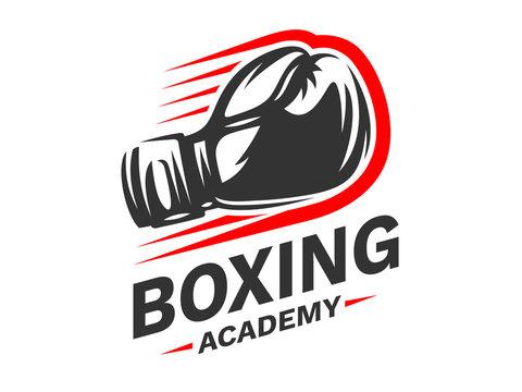 Silhouette of boxing gloves - boxing emblem, logo design, illustration on a white background