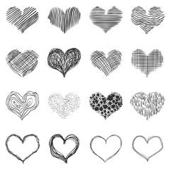 Vector Set of Doodle Sketch Hearts. Abstract Love Symbols