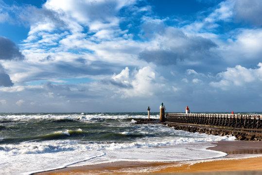 France coast-Capbreton, wooden jetty