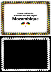 Frame and border of ribbon with the Mozambique flag for diplomas, congratulations, certificates. Alpha channel. 3d illustration