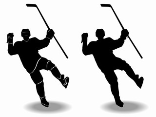 silhouette ice hockey player, vector draw