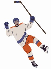 illustration ice hockey player, vector draw