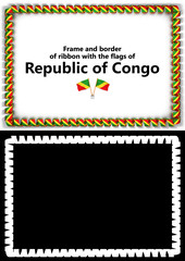 Frame and border of ribbon with the Republic of Congo flag for diplomas, congratulations, certificates. Alpha channel. 3d illustration
