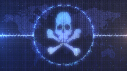Hacker cyber attack warning screen