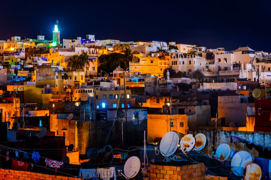 Tangier skyline at night, Morocco