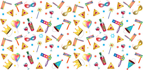 Purim jewish holiday pattern traditional purim symbols, carnival mask, gifts, noisemaker, masque, gragger, wine bottle, hamantachhen cookies, crown, star of david, festival decoration carnival vector