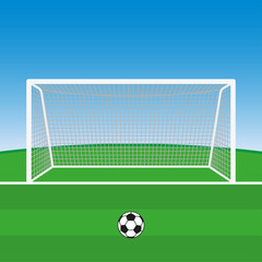 Soccer goal with football ball. Vector illustration.
